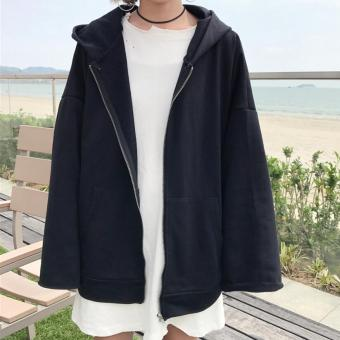 LOOESN Korean-style gray cardigan hooded hoodie female zipper short jacket (Black)