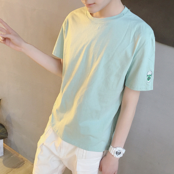 LOOESN Korean-style men round neck small Short sleeve Top summer short sleeved t-shirt (Light Green)
