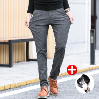 LOOESN Korean-style men Slim fit skinny pants autumn casual pants (UK825 gray belt included)