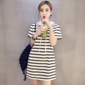 LOOESN Korean-style mid-length short sleeved female midi-skirt dress (5805 white)