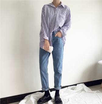 LOOESN Korean-style New style irregular wavy high-waisted denim pants