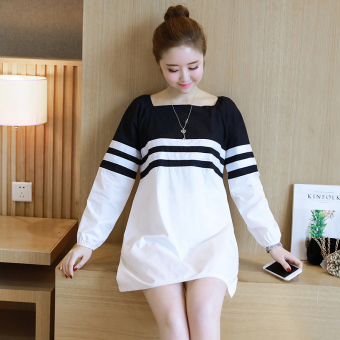 LOOESN Korean-style New style long-sleeved mid-length maternity dress Dress