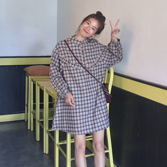 LOOESN Korean-style New style mid-length frilled plaid long-sleeved dress (Coffee Grid)