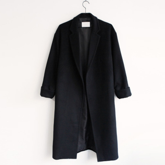LOOESN Korean-style New style winter mid-length woolen coat (Black)