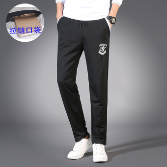 LOOESN Korean-style Plus velvet straight shut sweatpants athletic pants (With pockets zip black)