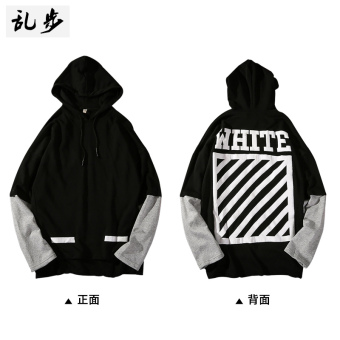 LOOESN Korean-style printed couple's fake two-piece hooded hoodie (110 hooded hoodie black)