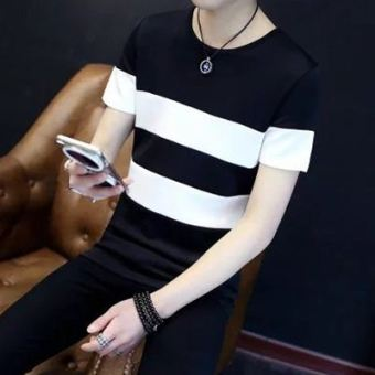 LOOESN Korean-style short sleeved men summer T-shirt (Stitching striped black)