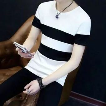LOOESN Korean-style short sleeved men summer T-shirt (Stitching striped white)