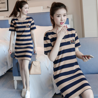 LOOESN Korean-style short sleeved t-shirt New style Female Summer (5820 casual blue striped)