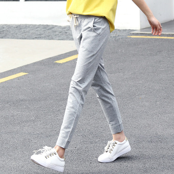 LOOESN Korean-style skinny harem pants Spring and Autumn pants (Light gray color)