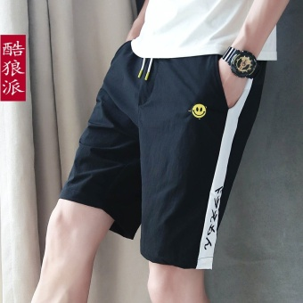 LOOESN Korean-style smiley boy's breeches men's shorts (Black)