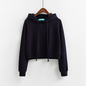LOOESN Korean-style solid color female autumn Top New style hooded hoodie (Dark blue color)