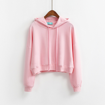 LOOESN Korean-style solid color female autumn Top New style hooded hoodie (Pink)