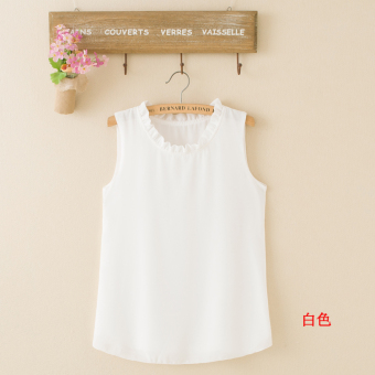 LOOESN Korean-style solid New style summer versatile base strap chiffon vest (White)