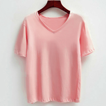 LOOESN Korean-style solid New style v-neck base shirt (Pink)