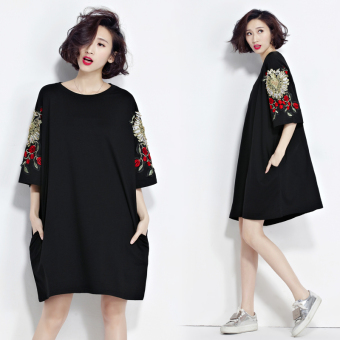 LOOESN Korean-style solid Plus-sized spring and summer fifth sleeve dress