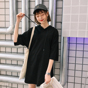 LOOESN Korean-style spring and summer New style mid-length dress hooded half-sleeve shirt T-shirt (Black)