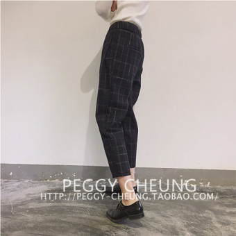 LOOESN Korean-style spring New style plaid harem pants (Gray)