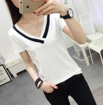 LOOESN Korean-style White Summer v-neck t-shirt (8058 white)