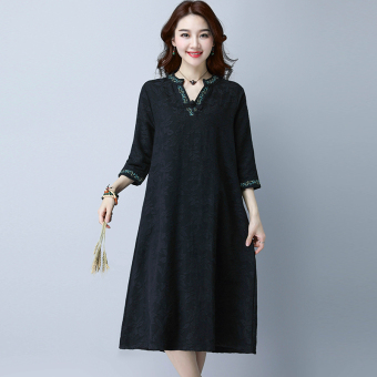LOOESN linen solid color Plus-sized embroidered dress (Black)