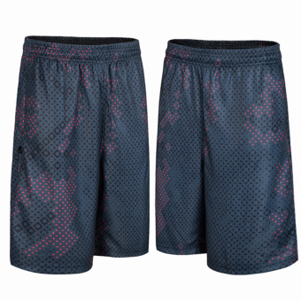 LOOESN mesh breathable camouflage basketball shorts (Camouflage black and red point shorts)