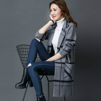 LOOESN mid-length striped plaid sweater cardigan (Gray)