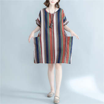 LOOESN mm2017 Korean-style Plus-sized female New style T-shirt (Hong striped)