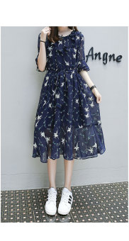 LOOESN New style pregnant women's chiffon dress (Dark blue color)