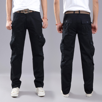 LOOESN outdoor tube wear and more with pockets pants tooling pants (Eight with pockets black)