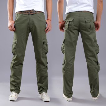 LOOESN outdoor tube wear and more with pockets pants tooling pants (Eight with pockets dark green)