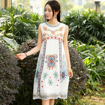 LOOESN retro embroidered round neck sleeveless dress (White)