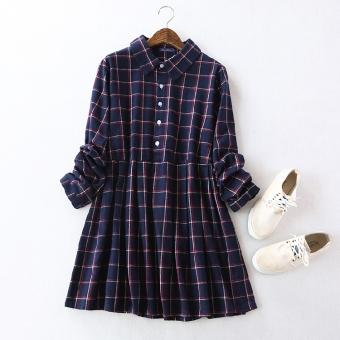 LOOESN retro plaid mid-length shirt collar dress (Dark blue grid)