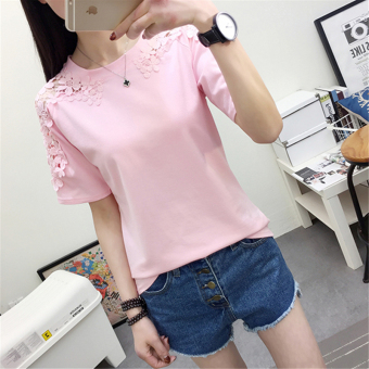 LOOESN sexy New style porous female Top solid color short sleeved t-shirt (Pink)