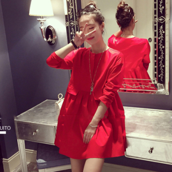 LOOESN Shishang red spring long-sleeved dress Korean-style Top (Red)
