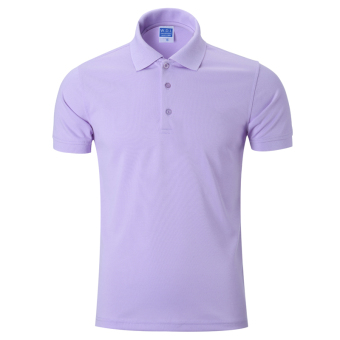 LOOESN solid men's short sleeve Fold-down collar T-shirt polo shirt (Light Purple)