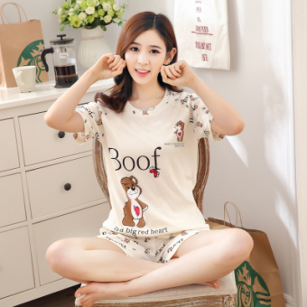 LOOESN sweet cotton women's short sleeved tracksuit pajamas (W661 lovely bear short sleeved female)