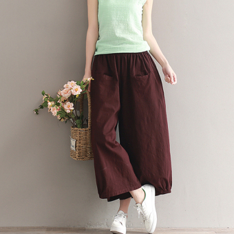 LOOESN versatile cotton linen solid color New style ankle-length pants (Wine red color)