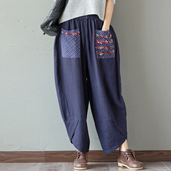 LOOESN versatile fabric New style cotton linen wide leg pants (Dark blue color)