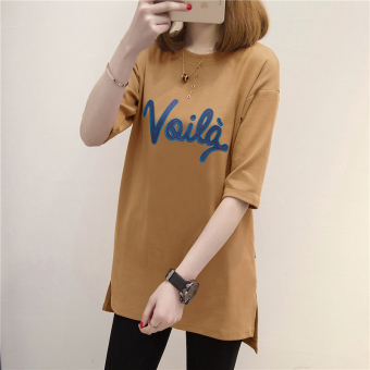 LOOESN versatile New style mid-length T-shirt Top (739 (Ka Qi))