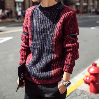 LOOESN winter New style pullover thick sweater (Wine red color)