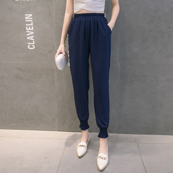 LOOESN yarn thin ankle-length skinny long pants lantern pants (New style lantern pants-dark blue)