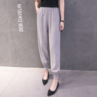 LOOESN yarn thin ankle-length skinny long pants lantern pants (New style lantern pants-gray)