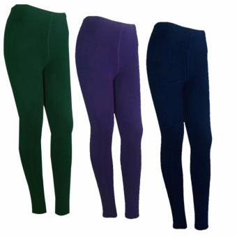 Lookssy Plain Style Leggings (green/purple/darkblue)setof3