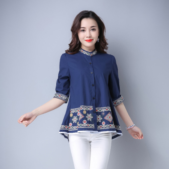 Loose artistic cotton linen printed fifth sleeve shirt (Dark blue color) (Dark blue color)