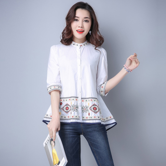 Loose artistic cotton linen printed fifth sleeve shirt (White) (White)