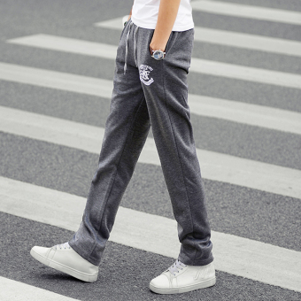 Loose autumn and winter Slim fit straight men's casual pants sweatpants (Dark gray color)