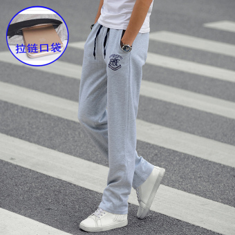 Loose autumn and winter Slim fit straight men's casual pants sweatpants (Light gray color [Zip with pockets])