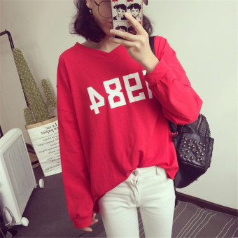 Loose autumn Korean-style long-sleeved t-shirt (Red) (Red)