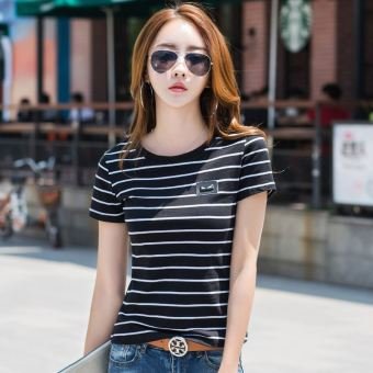 Loose casual cotton female students bottoming shirt white short-sleeved t-shirt (9332 black striped)