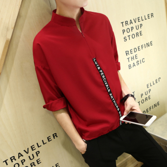Loose casual half-sleeve shirt batwing shirt New style short sleeved t-shirt (Rust Hong)
